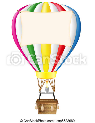 hot air balloon and blank banner - csp8833680