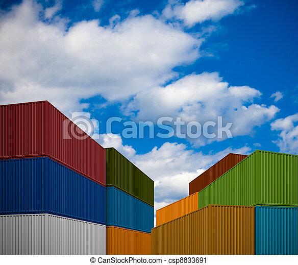 transporte, Pila, contenedores - csp8833691