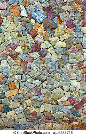 colored Pattern of old stone Wall Surfaced - csp8833716
