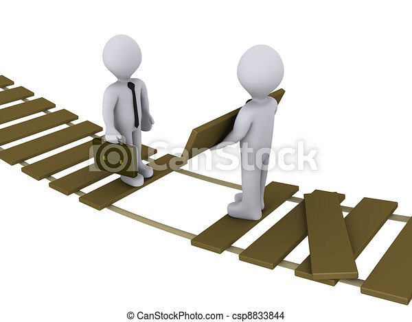 Businessman is helping another to cross a damaged bridge - csp8833844