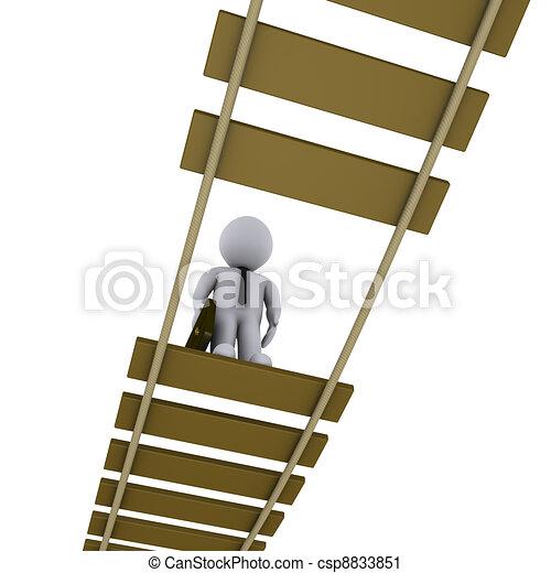 Businessman on damaged bridge looking down - csp8833851