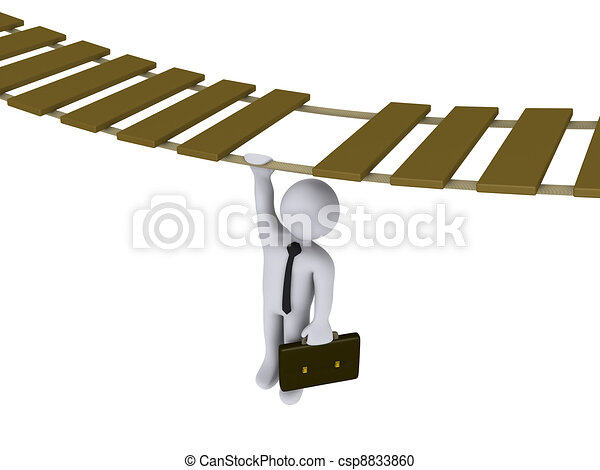 Businessman hanging from a suspended bridge - csp8833860