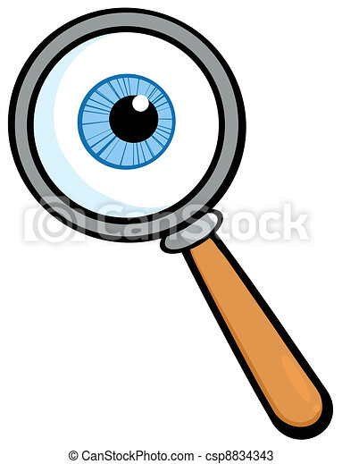Magnifying Glass With  Eye Ball - csp8834343