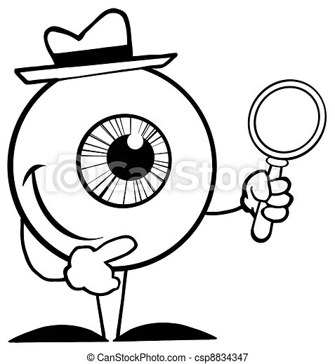 Outlined Detective Eyeball  - csp8834347