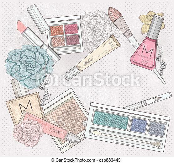Makeup and cosmetics background - csp8834431