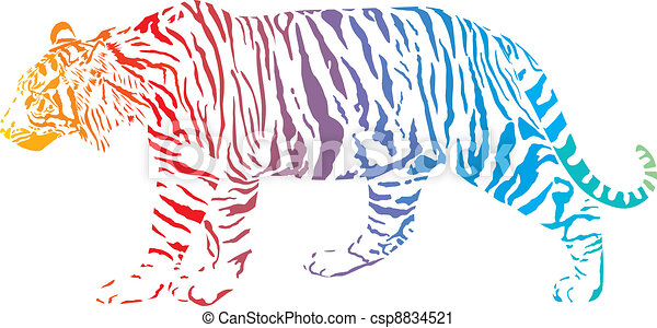 Tiger - vector abstract rainbow - csp8834521