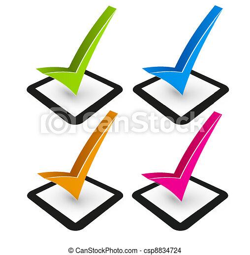 illustration of check mark and check box - csp8834724
