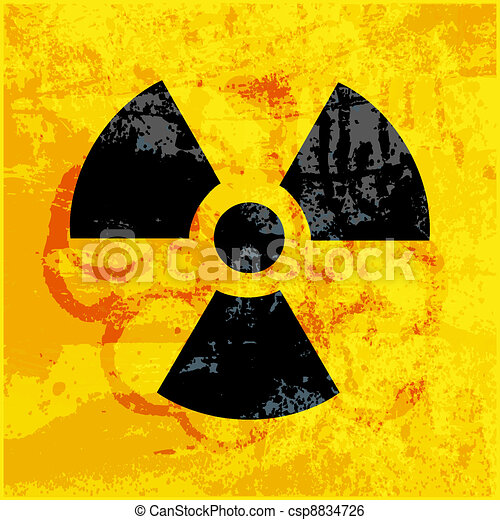 radioactivity symbol on  grungy background - csp8834726