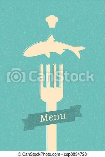restaurant menu retro poster - csp8834728
