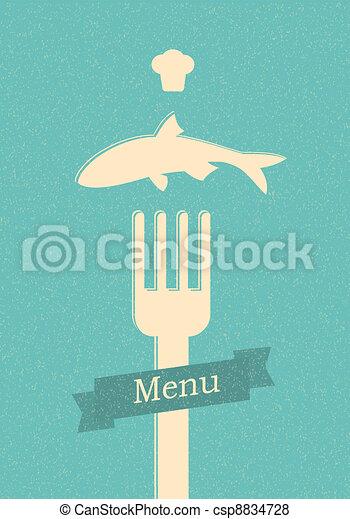 restaurant menu retro poster - csp8834728