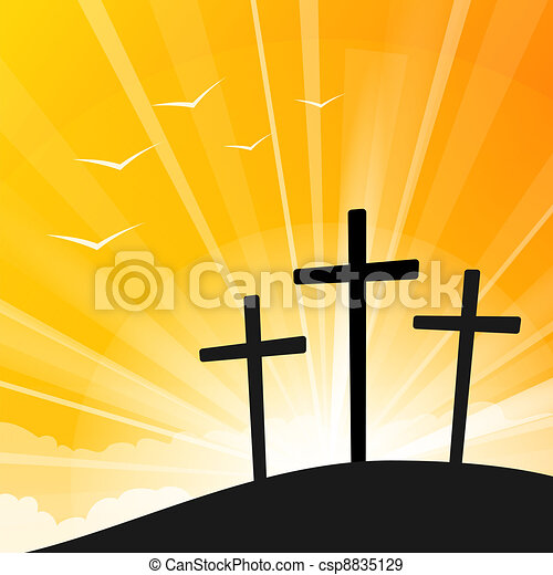 Easter style Three Crosses - csp8835129
