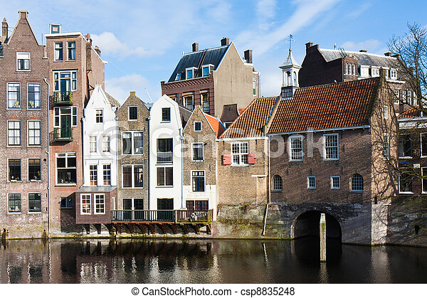 Historic cityscape along a channel in Delfshaven, a district of Rotterdam, the Netherlands - csp8835248