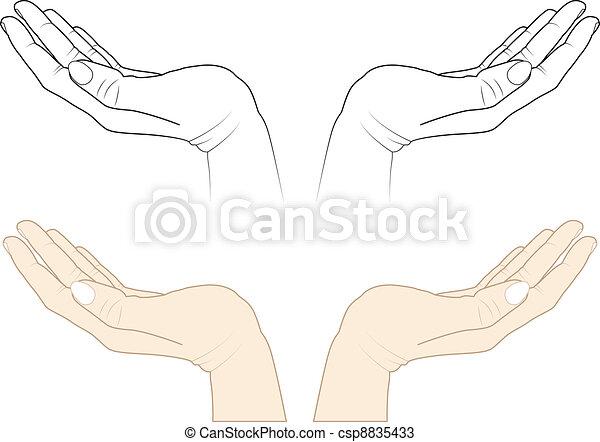 Vecteurs de ouvert mains csp8835433 recherchez des images graphiques vecteurs eps des - Dessin 2 mains ...