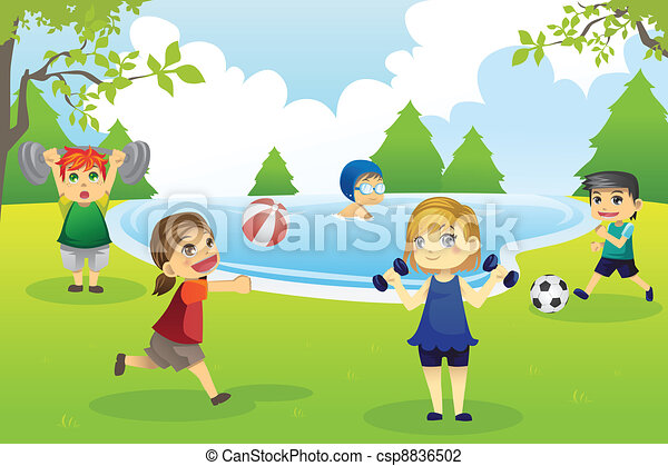Kids exercising in park - csp8836502