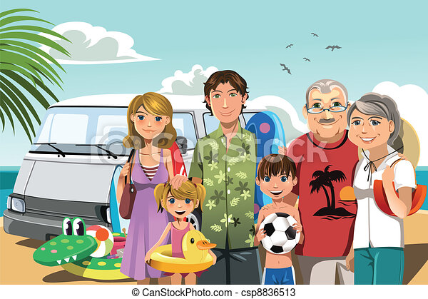 Family on beach vacation - csp8836513