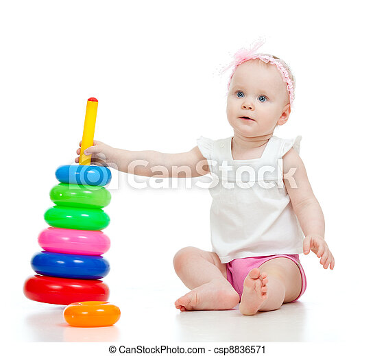 pretty baby playing with toy isolated on white - csp8836571