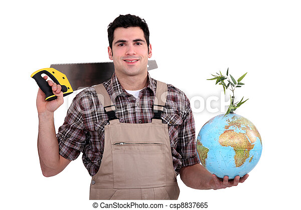 A carpenter promoting ecology. - csp8837665