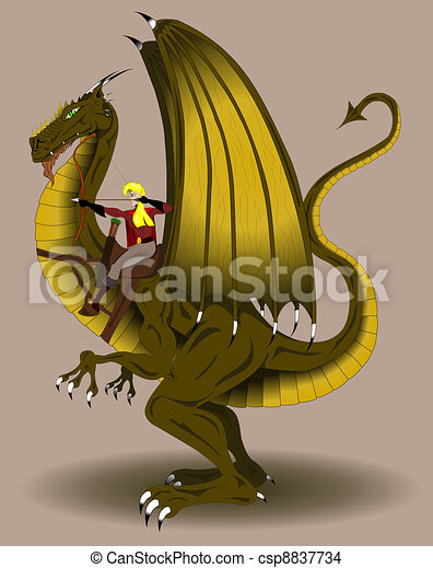 Woman archer riding a dragon - csp8837734