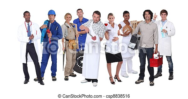 Ambitious workers from different industries - csp8838516