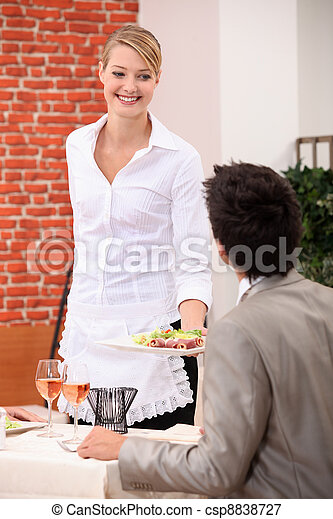 Waitress handing meal to customer - csp8838727