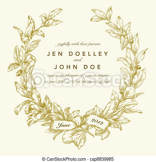 Vector Gold Wreath Background - csp8839985