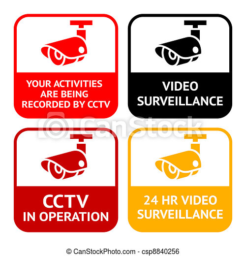 CCTV pictogram, video surveillance, set symbol security camera - csp8840256
