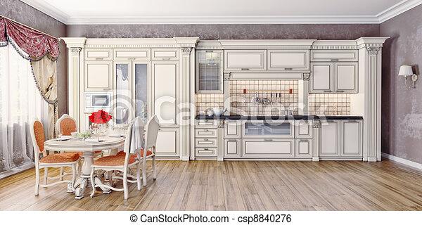 Classic Luxury Kitchen stock illustration of kitchen - luxury kitchen interior in classic