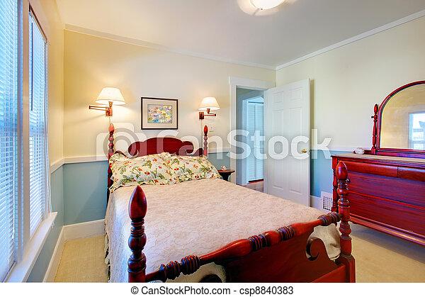 Stock foto 39 s van mooi romantische classieke blauwe slaapkamer rood csp8840383 zoek - Foto van volwassen slaapkamer ...