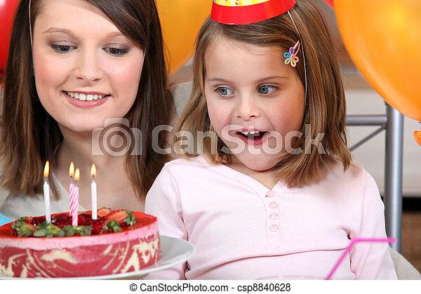 little girl having a birthday party - csp8840628
