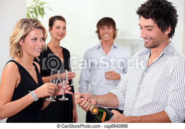 Popping the champagne - csp8840886