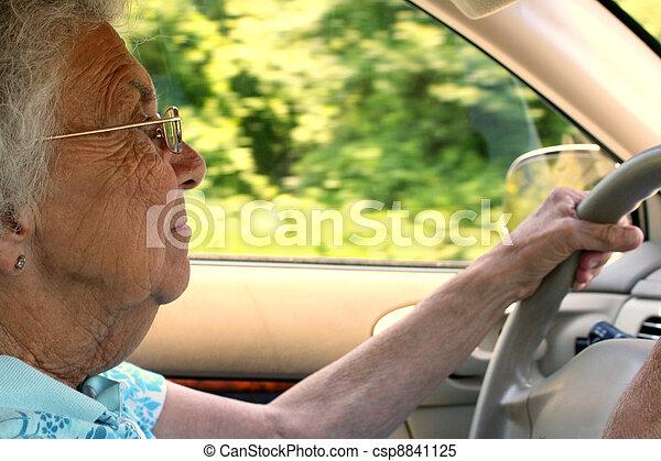 Senior Citizen Woman Driving in Profile - csp8841125
