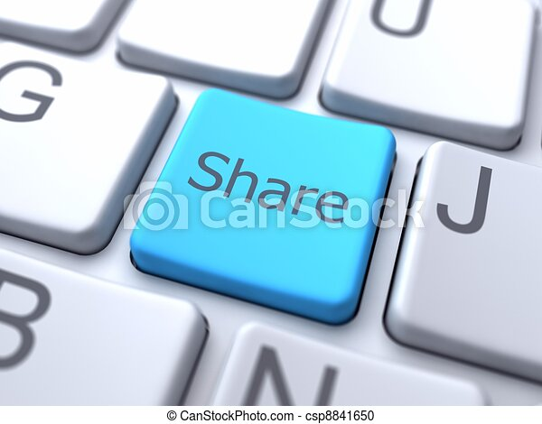 Share-Blue Button on Keyboard - csp8841650