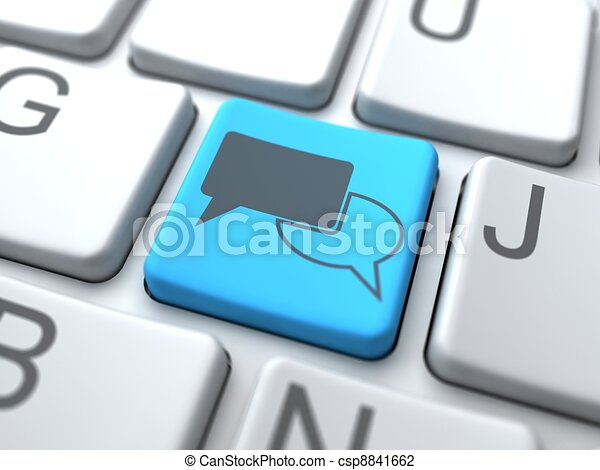 Speech Bubble-Blue Button on Keyboard. Social Media Concept. - csp8841662