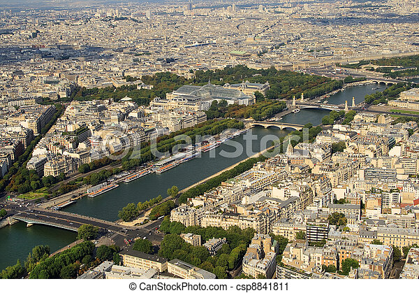 Kind to Paris from Tour d'Eiffel height - csp8841811