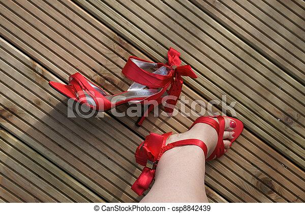 Red shoes high heel outdoor leg