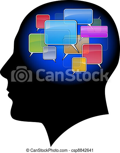 The man in the head with sms - csp8842641