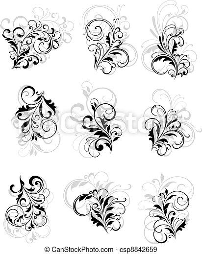 Flourish elements with reflection - csp8842659