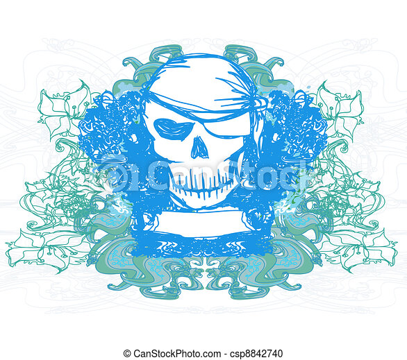 Skull Pirate - retro card - csp8842740