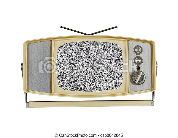 1960's Portable Television with Static Screen and Handle Stand - csp8842845