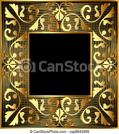 background frame with gold(en) vegetable ornament and net - csp8843489