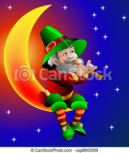 magician plays on flute sitting on moon in the night - csp8843599
