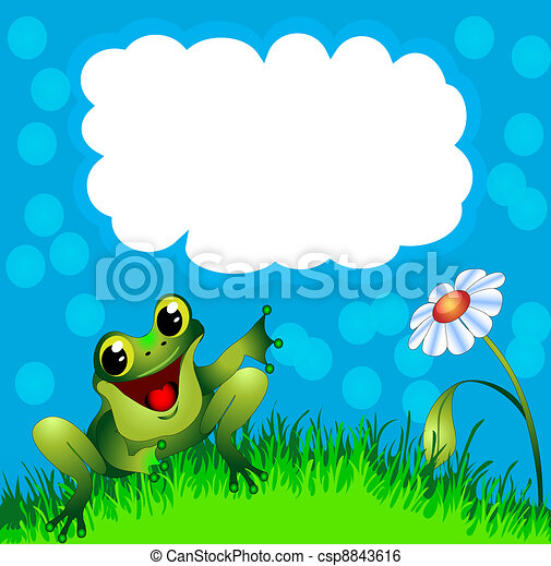 frog sits in herb and flower and points to message - csp8843616