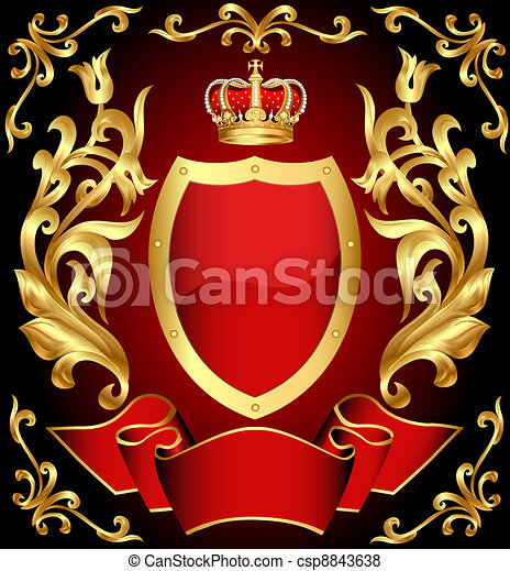 gun shield with crown and gold(en) ornament and tape - csp8843638