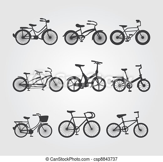 Set of Bicycle Vector Silhouettes - csp8843737