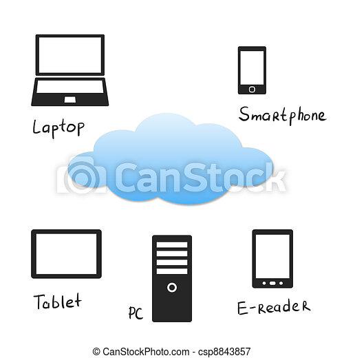 Cloud with electronic devices - csp8843857