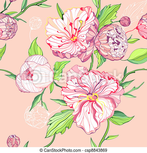Seamless pink background with peony - csp8843869