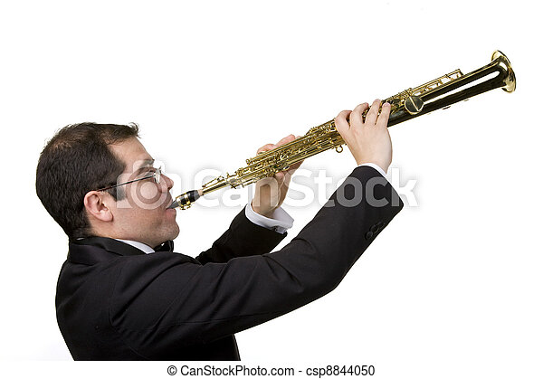 Saxophone Player Isolated on White - csp8844050