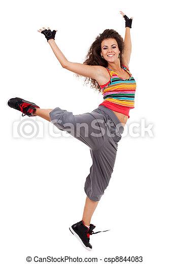 modern slim hip-hop style woman dancer - csp8844083