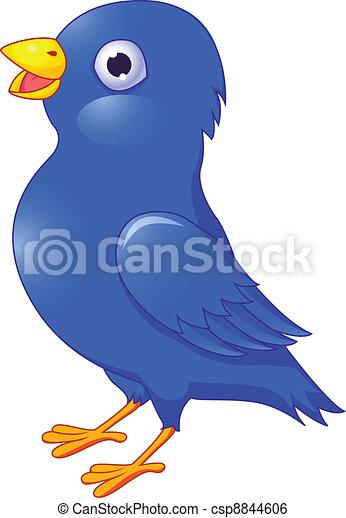 Cartoon of blue bird. Isolated on w - csp8844606
