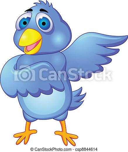 Cartoon of blue bird. Isolated on w - csp8844614